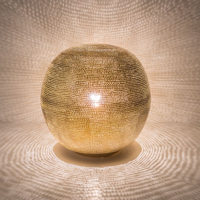 TABLELAMP BALL MEDIUM GOLD     - TABLE LAMPS