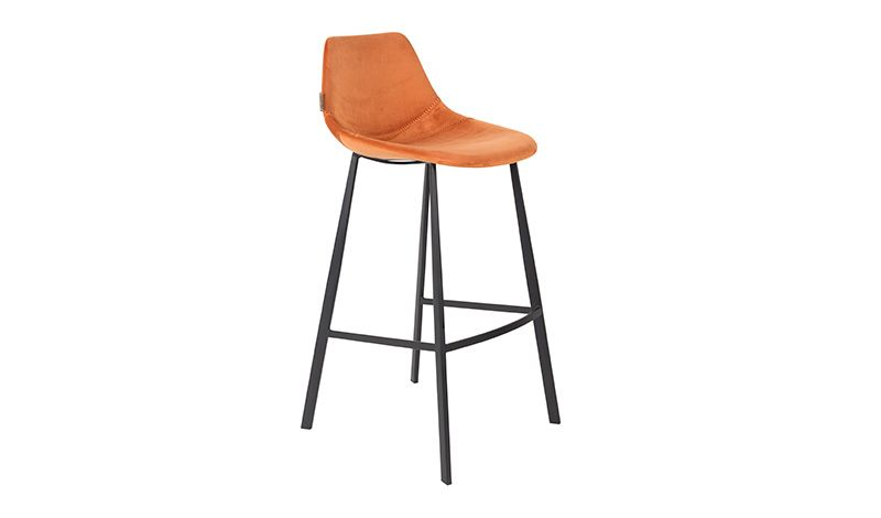 BARSTOOL VELVET ORANGE    - CHAIRS, STOOLS