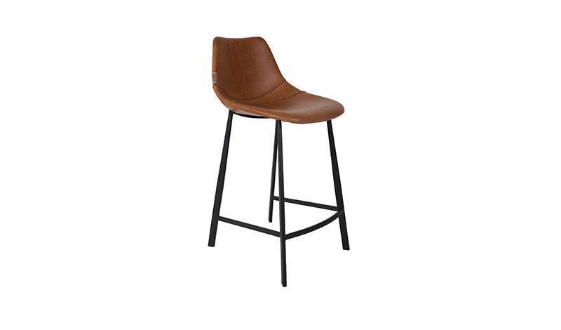 COUNTER STOOL BLACK VINTAGE PU LEATHER    - CHAIRS, STOOLS