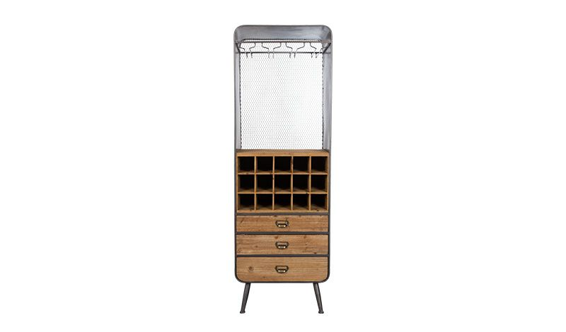 WINE CABINET SOLID WOOD ANTIQUE FINISH - CABINETS, SHELVES