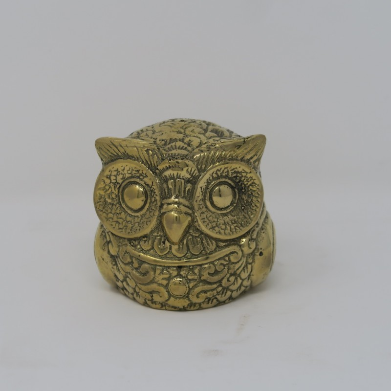 SMALL BRONZE OWL STATUE     - STATUES