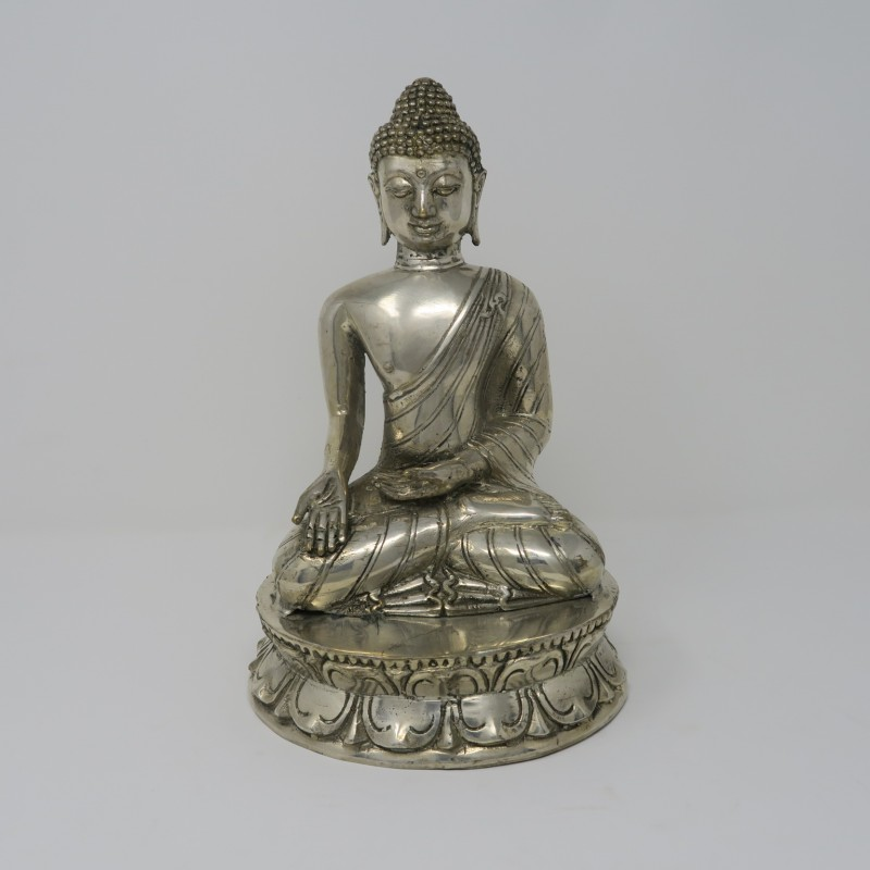 SITTING BUDDHA SILVER COLORED       - DECOR ITEMS