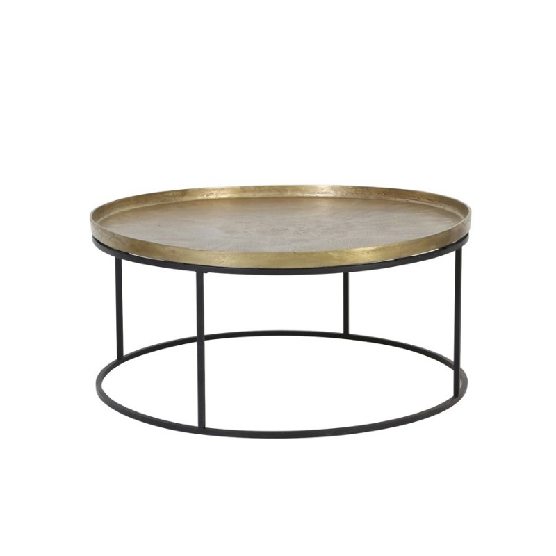 COFFEE TABLE RAW ANTIQUE BRONZE AND MATT BLACK     - CAFE, SIDETABLES