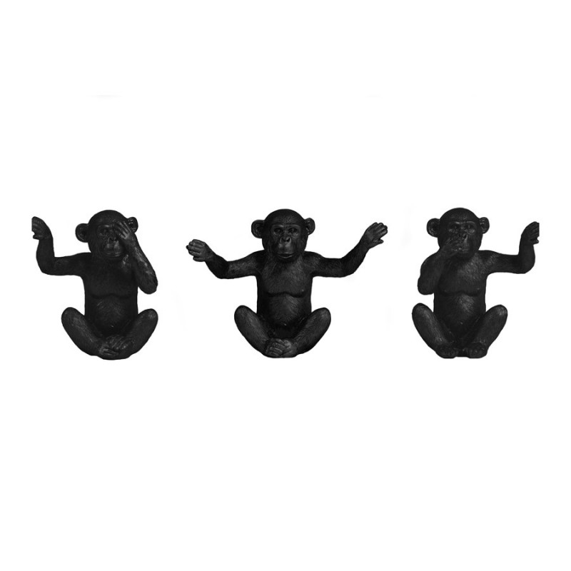 ORNAMENT MONKEY BLACK SET OF 3