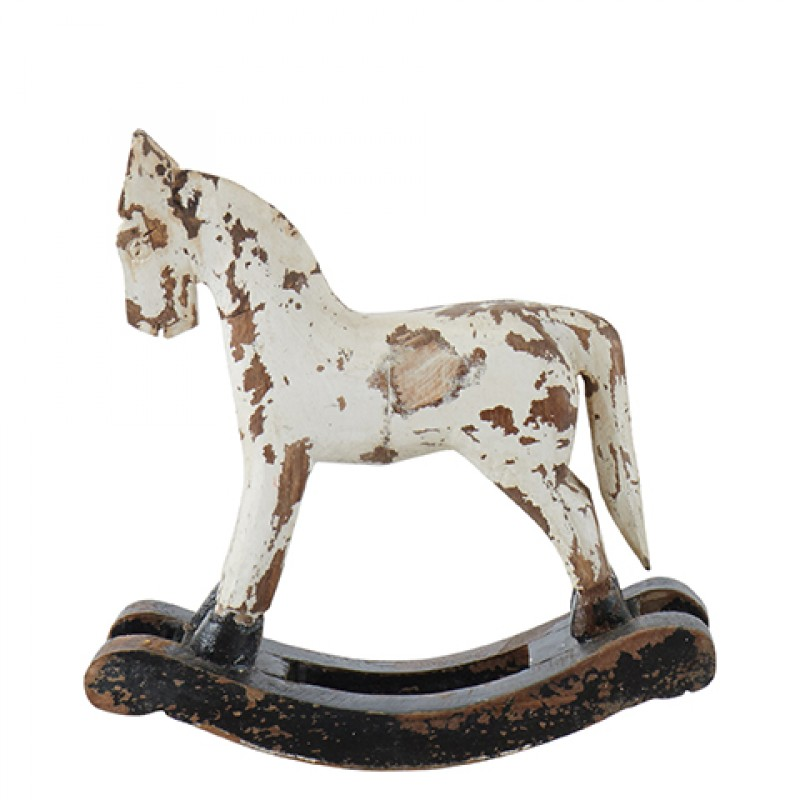 WHITE ROCKING WOODEN HORSE       - DECOR ITEMS