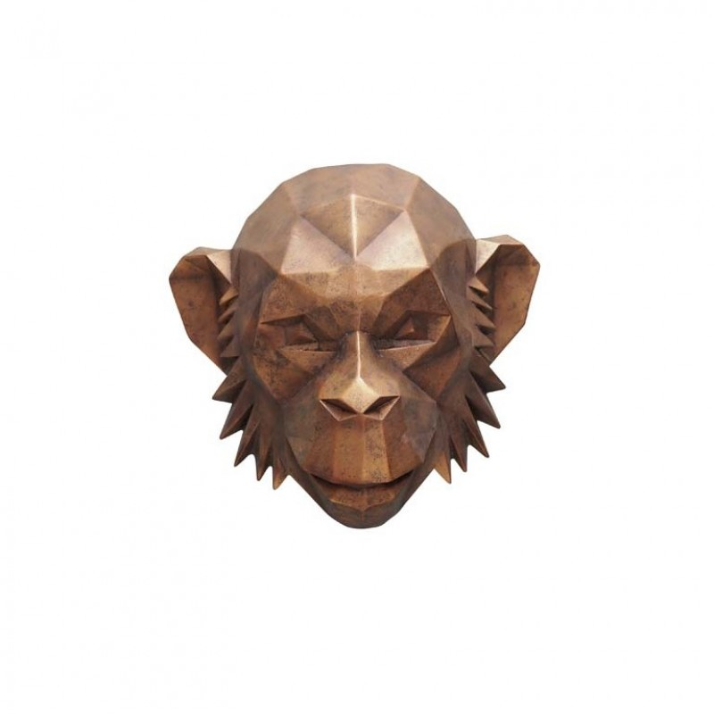MONKEY HEAD WALL DECO WOOD       - DECOR ITEMS