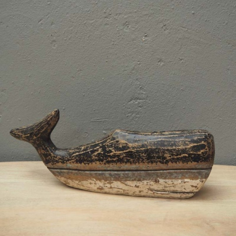 WOODEN NATURAL WHALE DECO
