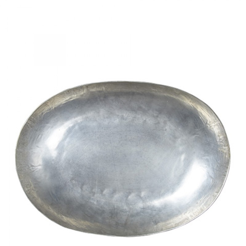 OVAL SILVER METAL TRAY 35