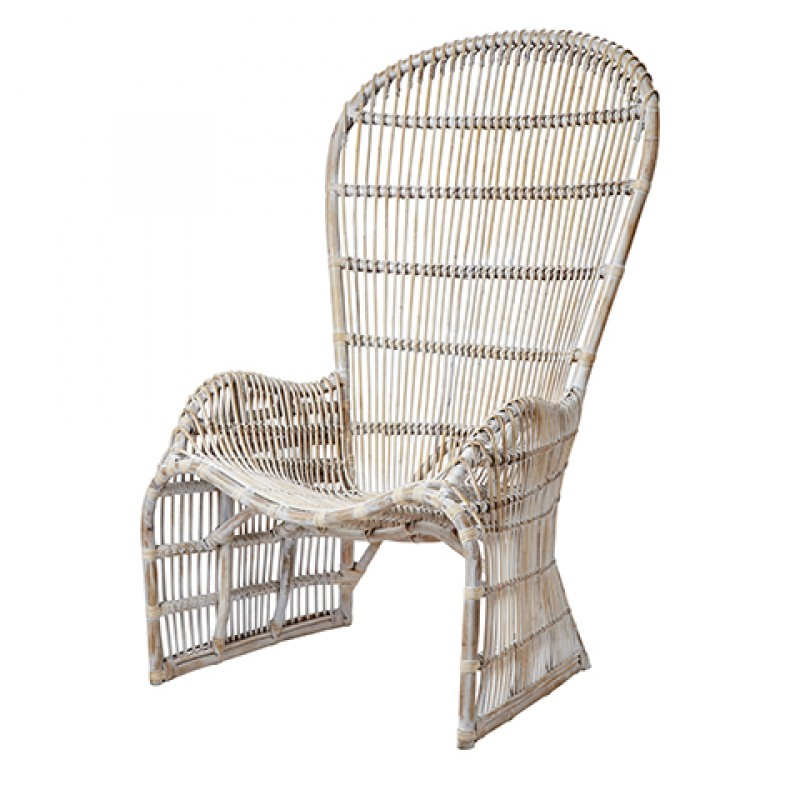 RVR WHITE RATTAN ARMCHAIR    - CHAIRS, STOOLS