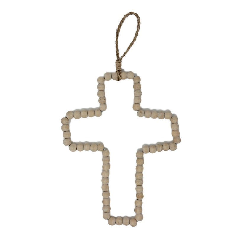WOOD PEARL CROSS NATURAL       - DECOR ITEMS