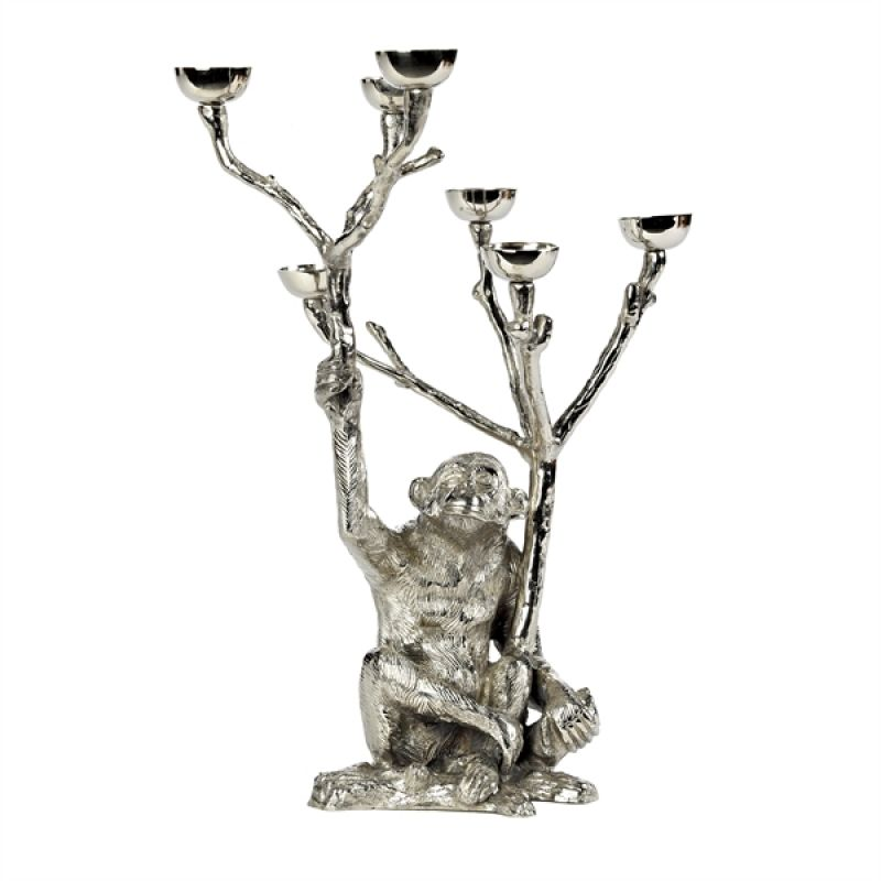MONKEY CANDLE HOLDER SILVER    - CANDLE HOLDERS