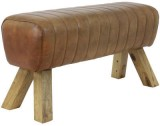 BENCH RAMY LEATHER BROWN    - CHAIRS, STOOLS