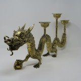 GOLD DRAGON WITH 3 CANDLE HOLDER       - DECOR ITEMS