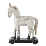 WHITE WOODEN HORSE ON WHEELS       - DECOR ITEMS