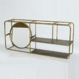 BRASS FRAMED MIRROR ETAGERE