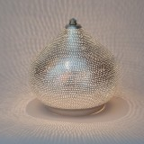 TABLE LAMP ON FLSK BRASS SILVER PLATED 25     - TABLE LAMPS