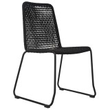 CHAIR ROPE WOVEN BLACK OUTDOOR    - CHAIRS, STOOLS
