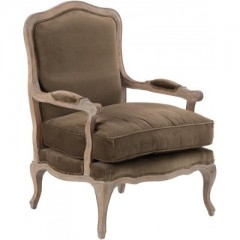 Armchair Bergere Blois Gris Taupe Velours