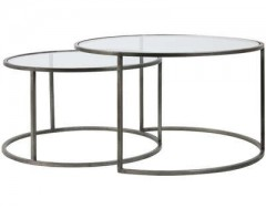 GLASS TOP ZINK FRAME CAFE TABLE     - CAFE, SIDETABLES