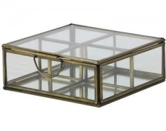 GDECO BOX 4COMP. ALEXANDRA ANTIQUE BRONZE GLASS