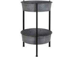 ZINC BASKET SIDETABLE WITH 2 LEVEL     - CAFE, SIDETABLES