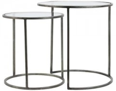 GLASS TOP ZINK FRAME SIDETABLE     - CAFE, SIDETABLES