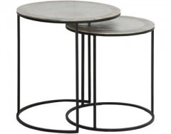 METAL SIDETABLE SET OF 2 RAW NICKEL     - CAFE, SIDETABLES