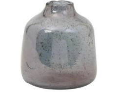 VASE DEONI GLASS STONE FINISH BLUE