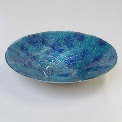 FAN BOWL AQUA MEDIUM BLUE       - DECOR ITEMS