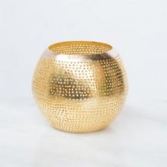 WAX HOLDER BALL FLSK GOLD    - CANDLE HOLDERS