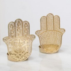 WAX HOLDER HAND SINGLE GOLD
