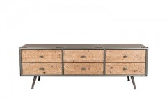 SIDEBOARD WITH 6 CARVED DRAWER GREY TOP