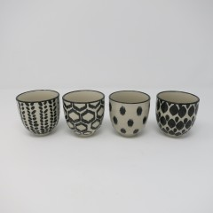 ESPRESSO CUP BLACK AND WHITE SET OF 4