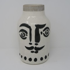 BLACK AND WHITE MAN FACE VASE      - POTS, VASES