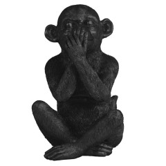 ORNAMENT SITTING MONKEY BLACK