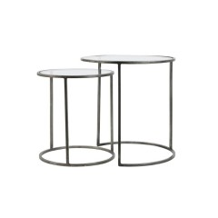 SIDETABLE GLASS-VINTAGE TIN     - CAFE, SIDETABLES