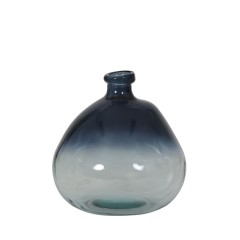 VASE GLASS CLEAR BLUE