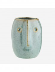 FLOWER POT WITH FACE IMPRINT GREEN OR NATURAL