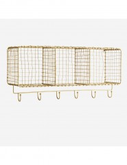 SHELF HORIZONT HANGING WITH HOOKS ANTIQ BRASS FINISH