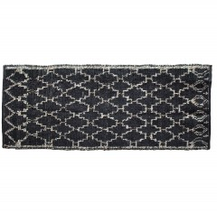 RUG WITH LATTICE PRINT BLACK NATURAL
