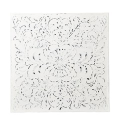 IRON PLATE TILE WHITE FLOWER