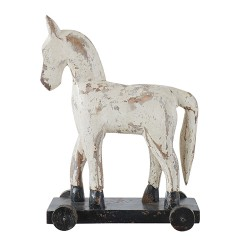 WHITE WOODEN HORSE ON WHEELS