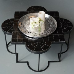 MOSAIC TABLE MAHAL BLACK LOW     - CAFE, SIDETABLES