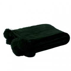 G MAMA BLANKET WITH POMPOM POLY BLACK    - BLANKETS