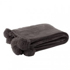 G MAMA BLANKET WITH POMPOM POLY DARK GREY    - BLANKETS