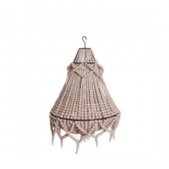NATURAL WOODEN PEARL CHANDELIER WITH EXTRA CHAIN