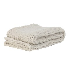 HEAVY KNITTED BLANKET CREAM    - BLANKETS