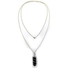 NECKLACE BLACK SILVER STONE