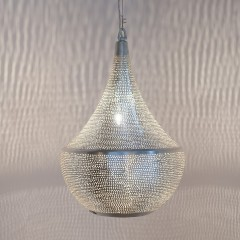 HANGING LAMP BLL FLSK BRASS SILVER PLATED 45