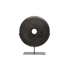 BLACK STONE COIN ON STAND